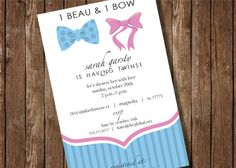 Twin Boy and Girl - Bow & Beau - Custom Shower invitation