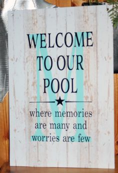 Housewarming Personalized Monogram Welcome To Our Pool Tan Fades Memories Last Forever Monogram Initial Metal Sign - Christmas, Mother& Day Swimming Pool Signs, Swimming Pools, Swimming Pool Quotes, Diy Pool, Pool Fun, Outdoor Signs, Backyard Signs, Pool Days, Beach Signs