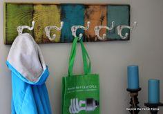 colorful coat hook at Beyond The Picket Fence http://bec4-beyondthepicketfence.blogspot.com/2013/08/off-hook.html
