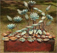 Copper Artist   No.4.Trough with lotus buds and flowers. - Copper Artist
