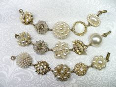Set of 3 Bridal Vintage Earring Bracelets by ElegantiTesori, $119.97