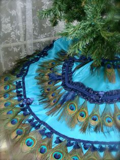 52 Peacock Feather Tablecover Christmas Tree Skirt or by Ivyndell, $650.00