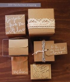 simple yet gorgeous handlettered wrapping!
