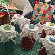 Got my gifties ready to go and will be headed out tomorrow to the cabin for another week long retreat with my sweet Girler friends. Inside each star jar is a little kit for @beelori1 's Farm Girl Vintage Star Smash up block. I will be helping a few gals get started on their Farm Girl Vintage quilts. It should be tons of FUN! ⭐️❤️ #starmashupblock #farmgirlvintage #farmgirlstarblock #farmgirlvintagefun
