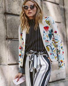 womens fashion look prints multicolor stripes