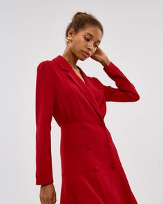 Мини-платье из крепа Blazer Dress, Fall Dresses, Leather Jacket, Jackets, Outfits, Clothes, Style, Fashion Outfits, Vestidos