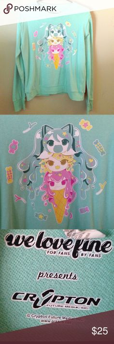Kawaii Vocaloid Ice Cream Graphic Long Sleeve  Adorable graphic with Hatsune Miku, Megurine Luka, and Kagamine Rin as a cute little ice cream cone ❤️ Worn once for a convention, has been in my closet since. In perfect condition  Officially licensed by Crypton  Tagged as a M, I would say a small or XS would fit best in this  No trades please! Hot Topic Tops Tees - Long Sleeve