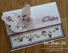 Butterfly Birthdays - three birthday cards I created using same stamp set and different colour combinations x