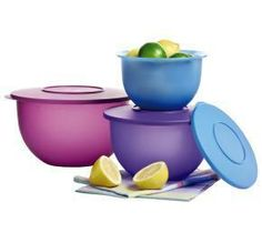 Serve, store, prep and more $35    Our line of translucent, textured serving, storing and food prep bowls do it all with style. Each bowl's decorative rim provides a comfortable grip and is inclined for easy pouring. Best of all, the entire set can nest in the big bowl for compact storage!    Set of 3 bowls with seals.  5-1/2-cup/1.2 L, 10-cup/2.5 L, and 18-cup/4.2 L capacities  Dishwasher safe.  In Purplicious/Hyacinth/Berry Bliss.