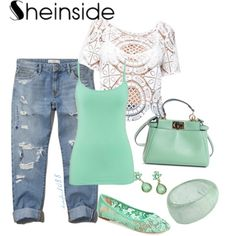 Sheinside Hollow lace vest by dsaylor1088 on Polyvore featuring polyvore fashion style Abercrombie & Fitch maurices Lucky Brand Fendi Farhi by Nicole Farhi