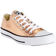 Converse Chuck Taylor All Star Ox Canvas Trainers ($66) ❤ liked on Polyvore featuring shoes, sneakers, gold, flat footwear, star shoes, flat shoes, plimsoll shoes and canvas trainers
