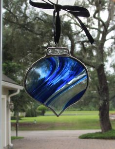 "Blue Baroque Glass ""Round"" Ornament for your Christmas Tree or Holiday Package Embellishment - 102"