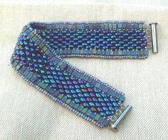 blue 1920's Art Deco vintage style bead woven cuff bracelet