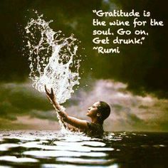 Gratitude is the wine for the soul, go and and get drunk! Rumi Poem, Rumi Quotes, Inspirational Quotations, Lets Get Drunk, Getting Drunk, Spiritual Enlightenment, Spirituality, Insightful Quotes, Paz Interior