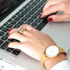 At The Office - When at work, bangles clanking against your keyboard can get pretty annoying, but a statement ring doesn't do that. Keep it simple by pairing thering with a classic timepiece like this simple gold watch.