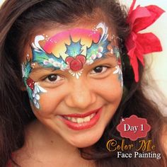 25 Days of Christmas, Day 1 - A rainbow holly face painting design - Color Me Face Painting