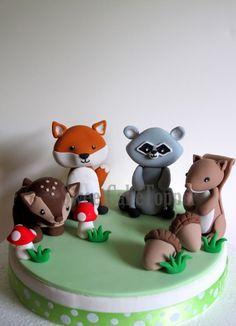 Bosques animales torta Toppers zorro mapache por SweetCakeTopper