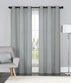"VCNY Annex Room Darkening Blackout Curtains Grommet Thermal 2 Panel Set, Solid Gray - 84"" Length - GreyDock.com"