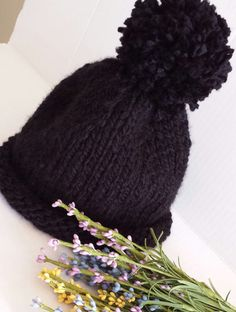 Check out this item in my Etsy shop https://www.etsy.com/ca/listing/470919014/solid-black-pompom-jack-and-jilly-hat