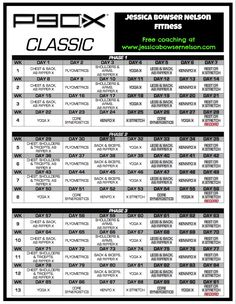P90X Lean Workout Schedule Calendar | P90X Schedule