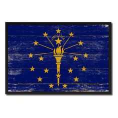 Indiana Flag Canvas Print, Picture Frame Gift Ideas Home Décor Wall Art  Decoration