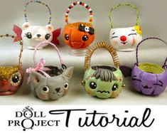 Halloween Candy Pails PDF Tutorial for Doll Costumes and Autumn Ornaments Learn to Sculpt Polymer Clay Pumpkins