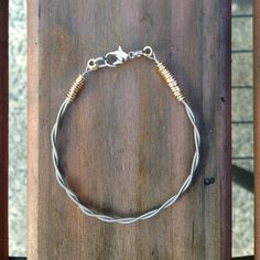 Anchors Aweigh Matey - Sailor inspired Silver Guitar String Bracelet - Upcycled Guitar String Jewelry Two Toned via Etsy