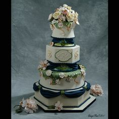 Hand painted  Monet and Van gogh inspired wedding cake with gumpaste peonies, roses, calla lillies and orchids by Monica's Sugar Studio LLC- 7th place at the National Capital Area Cake Show