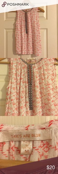Adorable Sleeveless Blouse Never worn adorable sleeveless blouse. Has a clip in the front if you feel like using it! If you don't have it clipped you can't tell that there is supposed to be one there. In excellent condition! Tops Blouses