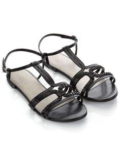 Camilla Geo Strap Sandals | Black | Accessorize