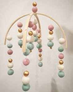 mint, dusty pink, white and gold! Gorgeous for your little loves nursery! $65 + postage! In love with this combination! Contact us for this beautiful mobile  #arlogold #feltballmobile #handmade #nursery #nurseryideas #baby #mumtobe #melbourne #pregnant #mint #pink #gold