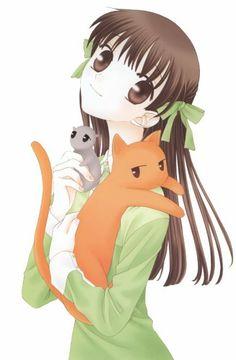 Fruits Basket- the cat is Kyo, Tohru is the girl, and the rat is Yuki. Trying to get the manga series. by Natsuki Takaya Bd Comics, Anime Comics, I Love Anime, Awesome Anime, Fan Art, Manga Anime, Fruits Basket Manga, Tsubaki Chou Lonely Planet, Images Kawaii
