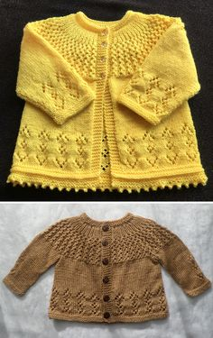Free Baby Sweater Knitting Patterns, Knitted Baby Cardigan, Knit Baby Sweaters, Knitting For Kids, Knitting Designs, Knit Patterns, Brei Baby, Craft, Children