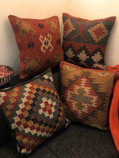 Ellan Kilim Multicolored Hand Woven Cushion Covers (Set of x Kilim Cushions, Throw Pillows, Cushions Online, Deco Boheme, Southwestern Decorating, Bohemian Pillows, Quilted Pillow, Weaving Techniques, Cushion Covers