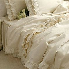 Brandream Girls Korean Ruffle Bedding Sets Romantic Ivory Duvet Covers Queen King Size 4 Piece Sheets Set Luxury Satin Fabric Brandream http://www.amazon.com/dp/B00URDWC6K/ref=cm_sw_r_pi_dp_Gh07wb03P5RVQ