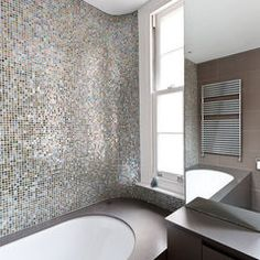 Silver Blue Iridescent Tiles In This Bath Work So Well With The Dark Gray Walls