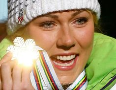 Rising star Mikaela Shiffrin scores big at the 2013 World Championships with a first place finish in the Slalom beating out Tina Maze for the Gold Tina Maze, Mikaela Shiffrin, Ski Racing, Alpine Skiing, Olympians, World Championship, Scores, Athletes, Image