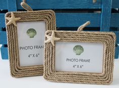 NEW and so cute! Rope Picture Frames with Starfish 4x6 - Set of 2 (http://www.caseashells.com/rope-picture-frames-with-starfish-4x6-set-of-2/)