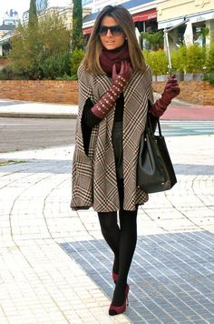 #Winter #Outfits / Burgundy Scarf - Burgundy Leather Gloves