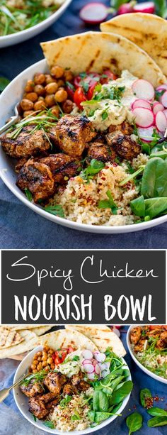 Spicy Chicken Nourish Bowl - A filling and nutritious warm salad, with middle eastern flavours -perfect for Fall. A healthier Autumn dinner. Warm Salad Recipes, Healthy Recipes, Hacks Cocina, Fall Dinner, Autumn Recipes Dinner, Fall Recipes, Dinner Bowls, Healty Dinner, Middle Eastern Recipes