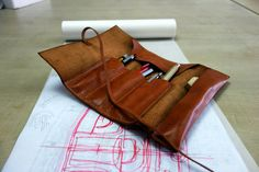 041 Hand Stitched Leather Pencil Case, Leather Travel Case, Architect Mark Pen Case, School Day Gift, Multi Pouch, Tool Roll, Knife Roll. on Etsy, $79.99