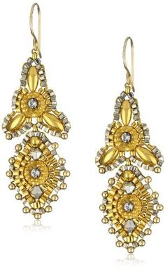 Miguel Ases Gold Beaded 14K Gold Filled Mini 3-Point Drop Earrings on shopstyle.com