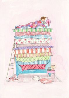 Princess and the pea Print by Porcupine Children's Prints