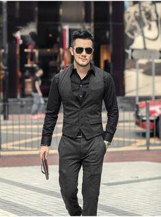 S autumn/winter vertical striped slim suit vest in 2019 Best Mens Fashion, Mens Fashion Suits, Men's Fashion, Men's Formal Fashion, 1870s Fashion, Fashion Night, Fashion Boots, Fashion Ideas, Mens Suit Vest