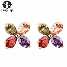 Fashion Crystal Zircon Earrings Colorful Flower Stud Earrings Rose Gold Plated Earrings for Girls Lady Jewelry Wedding Party //Price: $8.99 & FREE Shipping // #ootd #style #accessory  #stylish #cute