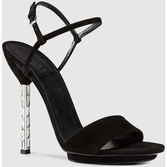 Gucci Adlena Crystal Heel Suede Sandal (12.993.610 IDR) ❤ liked on Polyvore featuring shoes, sandals, high heels stilettos, black suede shoes, ankle wrap sandals, gucci sandals and black shoes