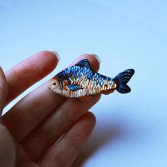 embroidered sequin fish brooch