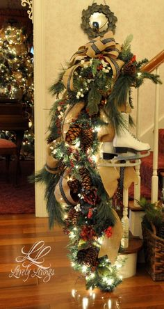 Read More About Festive Christmas Banister Decorations Ideas Its Christmas Eve, Christmas Wonderland, Rustic Christmas, All Things Christmas, Beautiful Christmas, Christmas Home, Christmas Wreaths, Christmas Crafts, Amazon Christmas