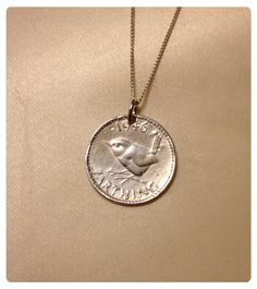 Fine silver clay 1946 Farthing pendant with gorgeous wren.