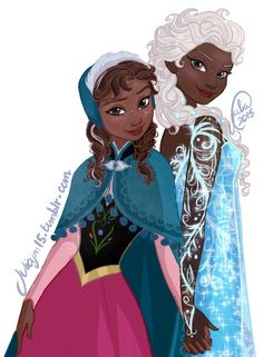 link Surely one of my favorite arts of them Have some racebent sisters love Totally accepted white hair+dark skin Elsa headcanon Black Love Art, Black Girl Art, Black Girl Magic, Art Girl, Black Cartoon, Cartoon Art, African American Art, African Art, African Paintings